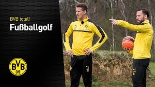 Erik Durm und Gonzalo Castro beim Fußballgolf