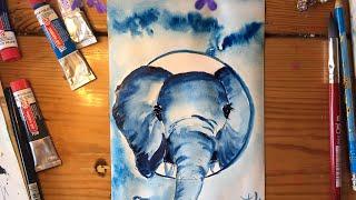 СИНИЙ. СЛОН.Рисуем синим цветом. Рисование для души