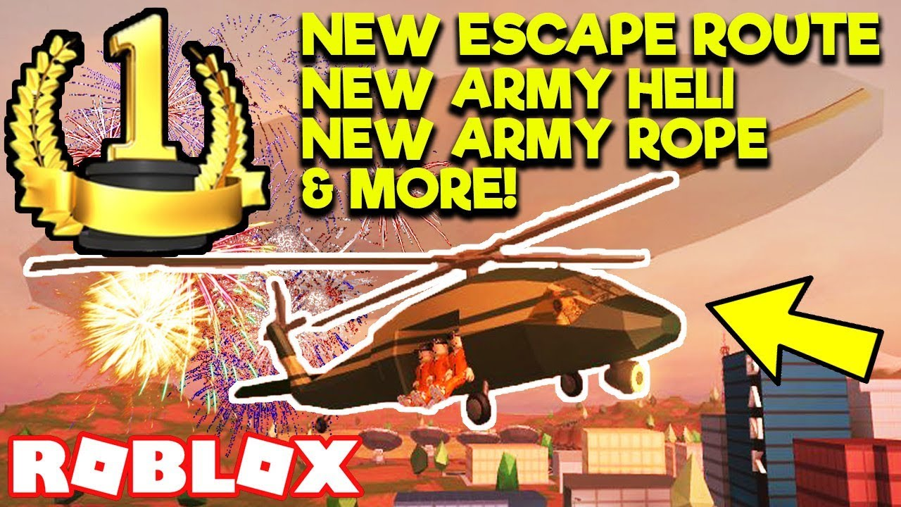 New Army Helicopter New Escape Route More Roblox Jailbreak 1