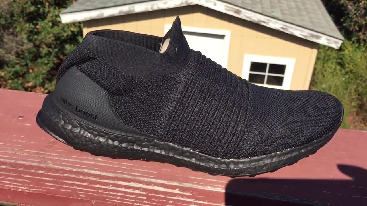 890a90f9e3da2 Triple Black Ultra Boost Laceless 2017 - YouTube