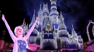 A Frozen Holiday Wish Magic Kingdom Holiday Castle Lighting Show WDW 2015 Queen Elsa