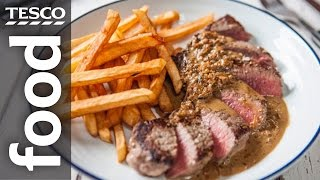ribeye steak and peppercorn sauce with chips   tescohelpsquad with sortedfood