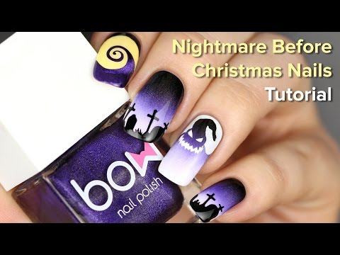 Halloween Nails For Nightmare Before Christmas Movie Diy Nail Art Tutorial Youtube