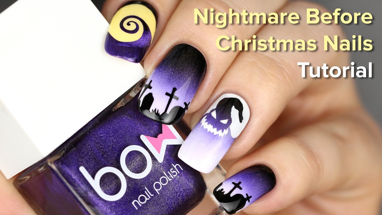 Halloween Nails for Nightmare Before Christmas Movie DIY Nail Art Tutorial  - YouTube - Halloween Nails For Nightmare Before Christmas Movie DIY Nail Art