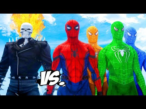 SPIDER-MAN, BLUE SPIDERMAN, ORANGE SPIDERMAN, GREEN SPIDERMAN VS GHOST RIDER