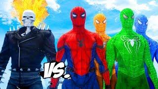 SPIDER-MAN, BLUE SPIDERMAN, ORANGE SPIDERMAN, GREEN SPIDERMAN VS GHOST RIDER