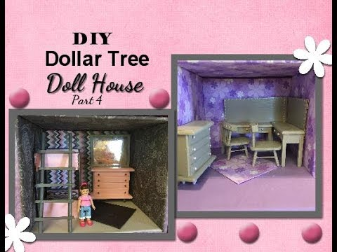 Diy Dollar Tree Wood Dollhouse Miniature Furniture Part 4 Youtube
