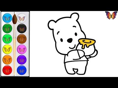 Как нарисовать МИШКУ / мультик раскраска ВИННИ ПУХ для детей / Раскраски малышам