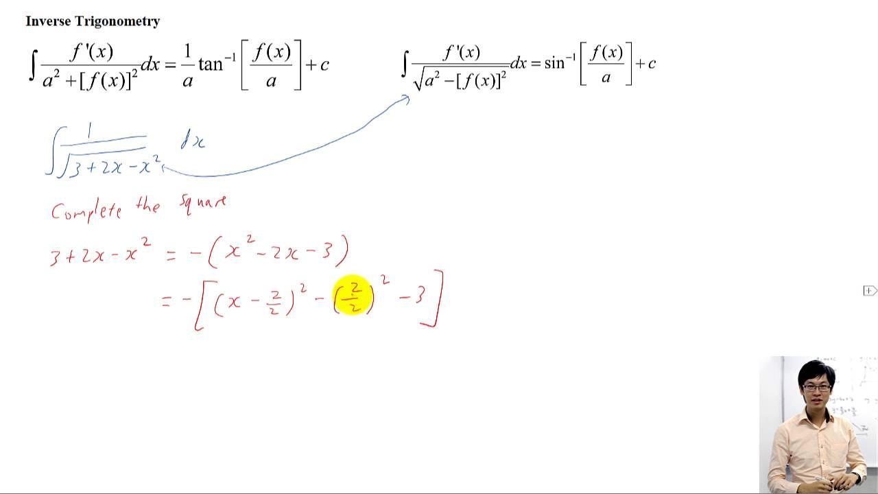 Jc H2 Math Integration Pleting The Square