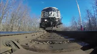 NS train runs over GoPro and knocks it under switch with sparks!