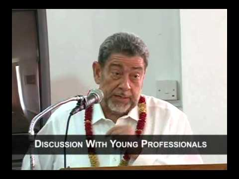 Dr Ralph Gonsalves holds discussion with young professionals