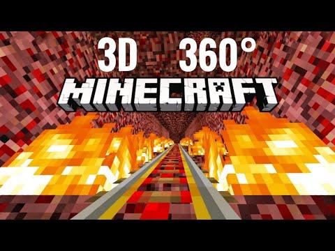 3D VR 360 Video Minecraft Roller Coaster Halloween Simulation PSVR 4K