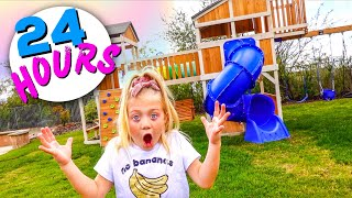 Everleigh Spends 24 Hours In Her Backyard Playground!!!