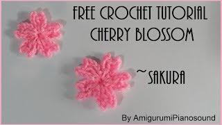 🌸 Crochet Cherry Blossom | Sakura Flower Tutorial 🌸 [with narration]
