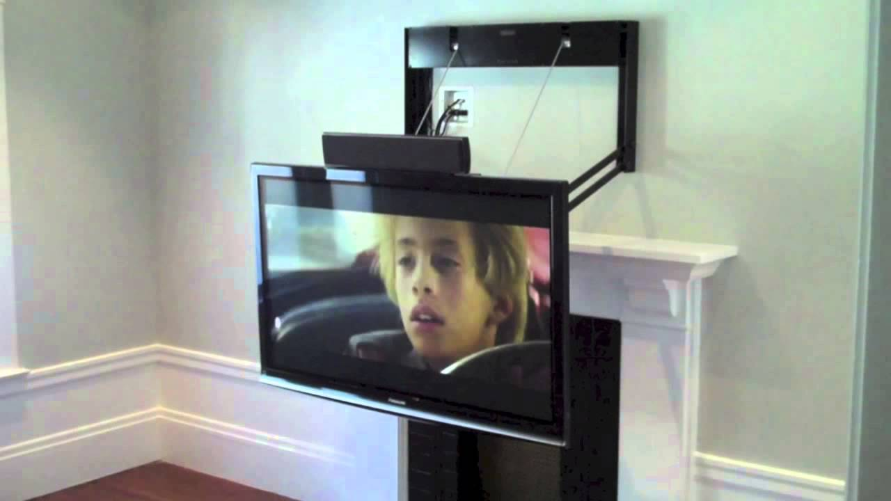 Motorized comfort vu mount youtube for Motorized tv mount over fireplace