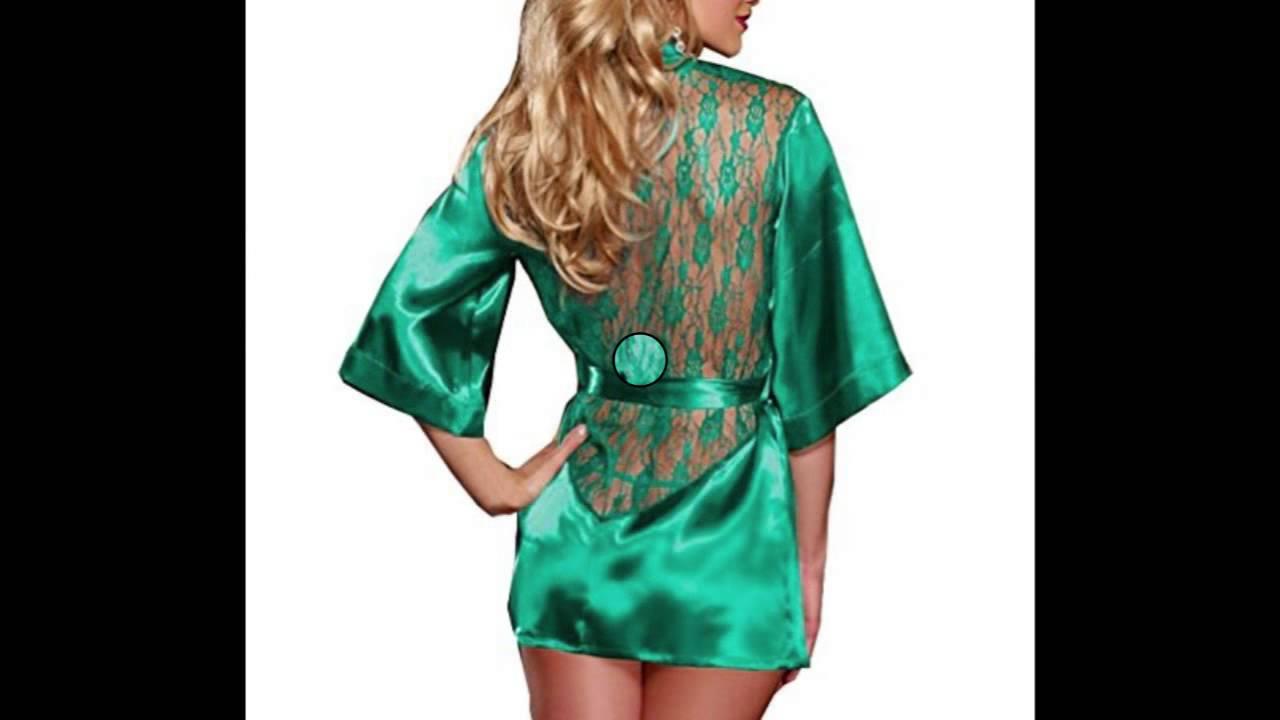 af8a47e01e90 Blidece Sexy Women Lingerie Silk Lace Gown Bath Robe Babydoll Night  Sleepwear Set Green Medium