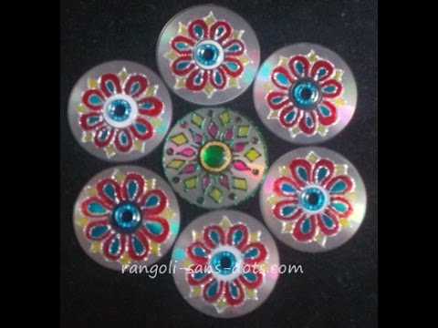 Innovative rangoli art on cd diwali decoration idea cd for Art and craft ideas for decoration