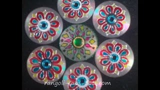 Innovative Rangoli art on cd | Diwali decoration idea  |  Cd craft project ideas |  Sudha Balaji