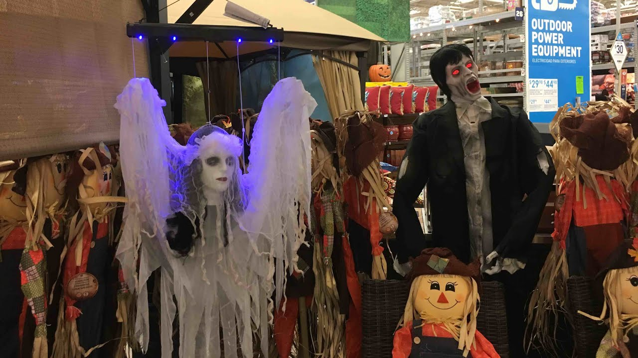lowes halloween 2017 in store footage floating lady ghost skeleton couple and more props - Lowes Halloween
