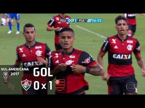 Gol - Fluminense 0 x 1 Flamengo - Sul-Americana 2017 - Globo HD