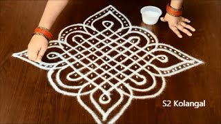 sikku kolam with 9 to 1 Straight dots - melikala muggulu designs - knots rangoli