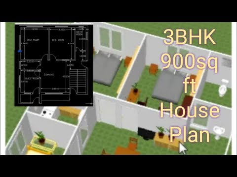 3BHK - 900 Sq Ft house plan | 3D plan | Home Architecture | Educational | DreamHome|Furniture Layout