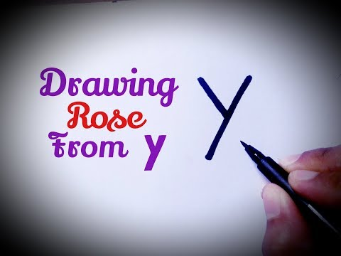 How to draw a rose flower easy from letter Y drawing rose flower easy step by step for beginners