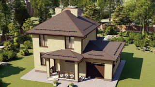 Проект дома 2 этажа из пеноблока с гаражом и террасой 144 м2.