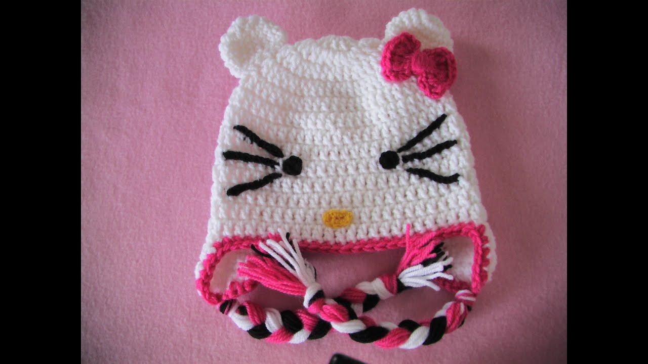 837f8326a9 Πλεκτο Σκουφακι Hello Kitty (μερος 1ο)   Hello Kitty Crochet Hat Tutorial  (part 1)