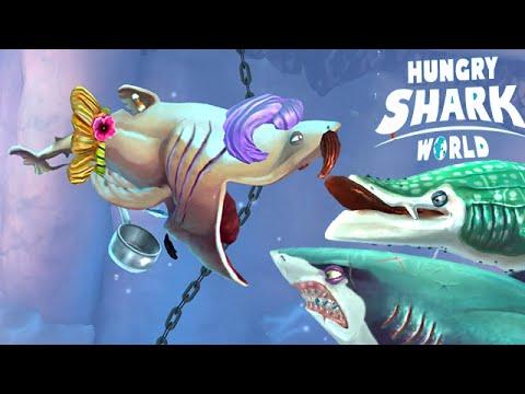 Hungry Shark World: Basking Shark Vs Whale Vs Great White ...