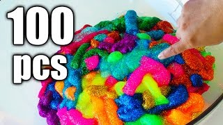 100 PCS OF GLITTER GLUE SLIME! How To Make Slime without Borax by Bum Bum Surprise Toys