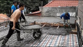 asian Construction Technology - Concreting slab on 2nd floor part 2 - How to build concrete floor