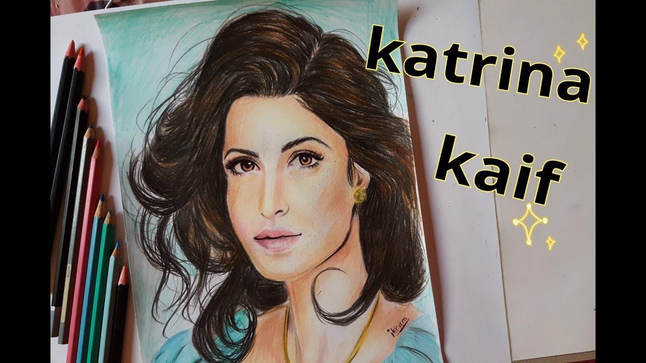 Drawing katrina kaif bollywood actress with colored pencils 💖