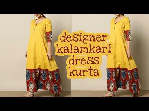 Designer Long kalamkari kurti[cutting & stitching]