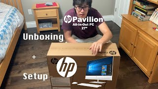 "HP PAVILION 27"" ALL-IN-ONE PC UNBOXING + SETUP!"