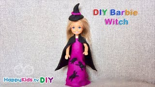 DIY Doll Witch | Barbie Dress up | PlayDough Crafts | Kid's Crafts and Activities | Happykids DIY