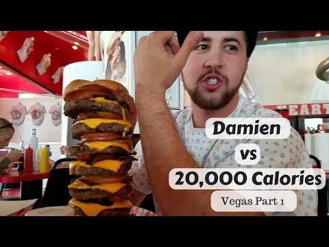 Heart Attack Grill- Damien Vs 20,000 calories Vegas part 1