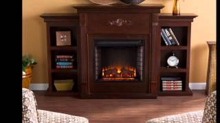 Sei Tennyson Electric Fireplace With Bookcases Espresso, Ivory Or Mahogany
