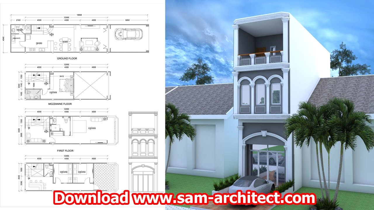 Narrow House Design 4 Bedrooms Sketchup And Autocad Plan