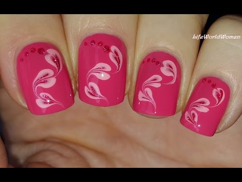 toothpick nail art #18 - pink marble