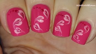 toothpick nail art 18 pink marble hearts design for valentine s day