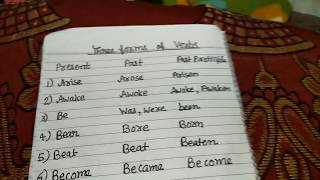 three forms of verbs maximum used in English speaking and asked in exams from student.