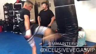 Nate Diaz cools down with some kicks after sparring with Joe Schilling at the Yard Muay Thai