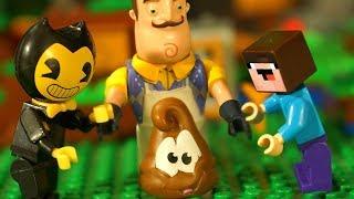 - БЕНДИ vs БАЛДИ vs ПРИВЕТ СОСЕД  Лего НУБик Майнкрафт Мультики LEGO Minecraft FNAF Мультфильмы