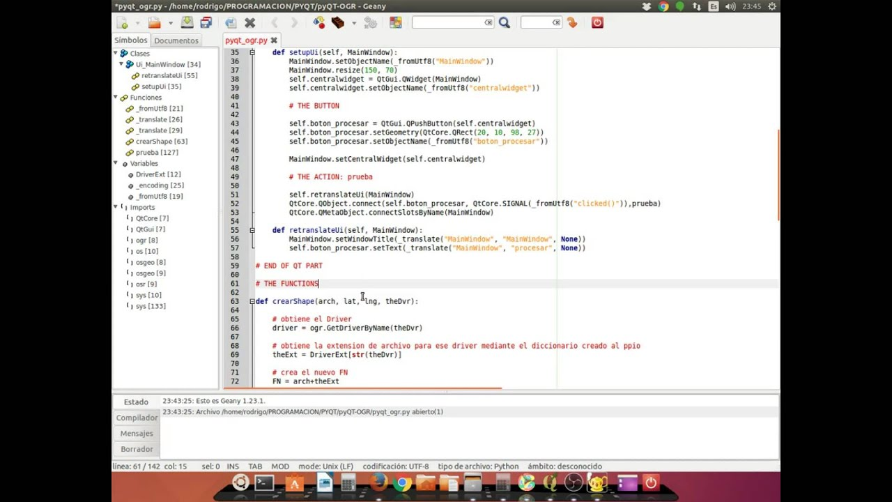 Problem using GDAL/OGR library for python and pyQT to create a shapefile