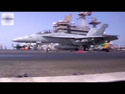 Flight Deck Operations from USS George H.W. Bush in Support of Airstrikes in Iraq