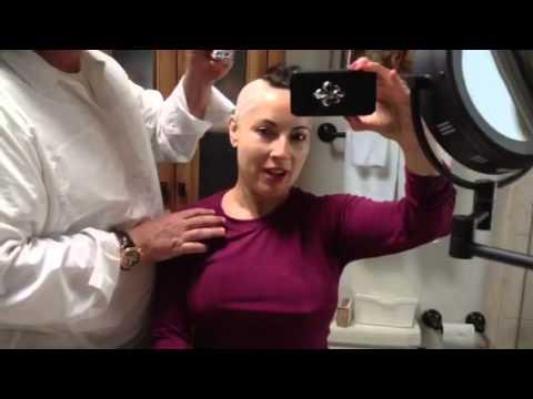 Ron White shaves Margo Rey's Head Chemo Glam