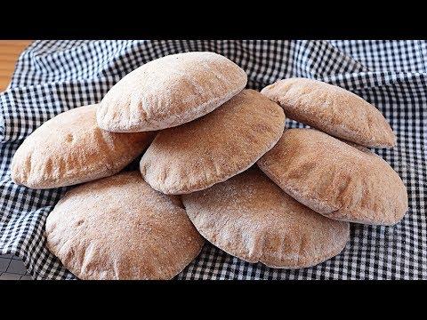 Pan de pita integral 100 %  - Pan árabe ¡Trucos! 🇬🇧SUB