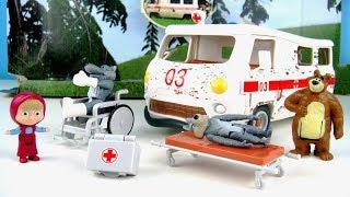玩瑪莎與熊救援系列 大野狼 救護車 輪椅  玩具開箱
