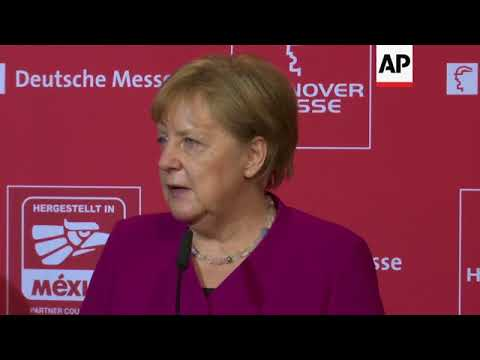 Merkel and Pena Nieto visit Hannover trade fair